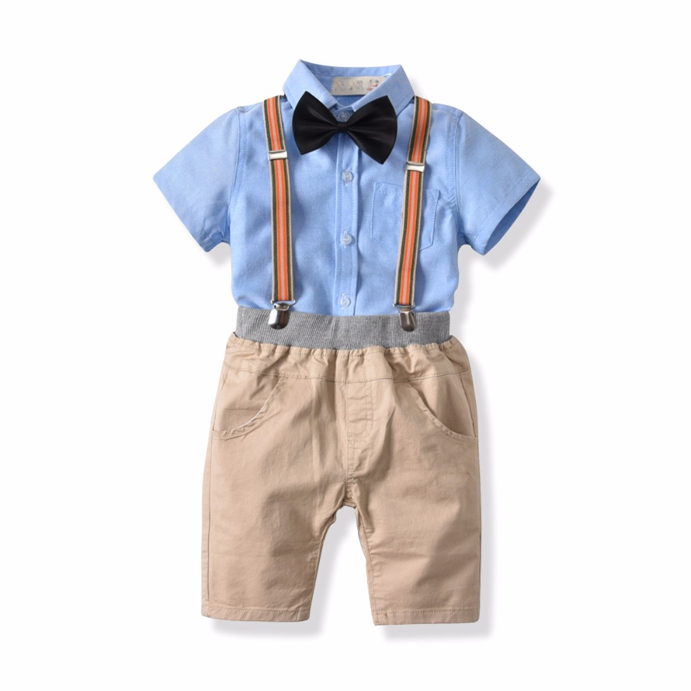 boys clothing set summer children clothes blue shirt with tie + elastic waistband shorts 2 pieces/set kids outfit size 2 4 6 7T boys clothing set summer children clothes blue shirt with tie + elastic waistband shorts 2 pieces/set kids outfit size 2 4 6 7T
