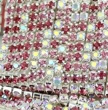 5 mt/los 3mm kristall stein kette Gemischte Farbe Rose & hochzeit Liefert Weihnachten party decor zubehör freeshipping