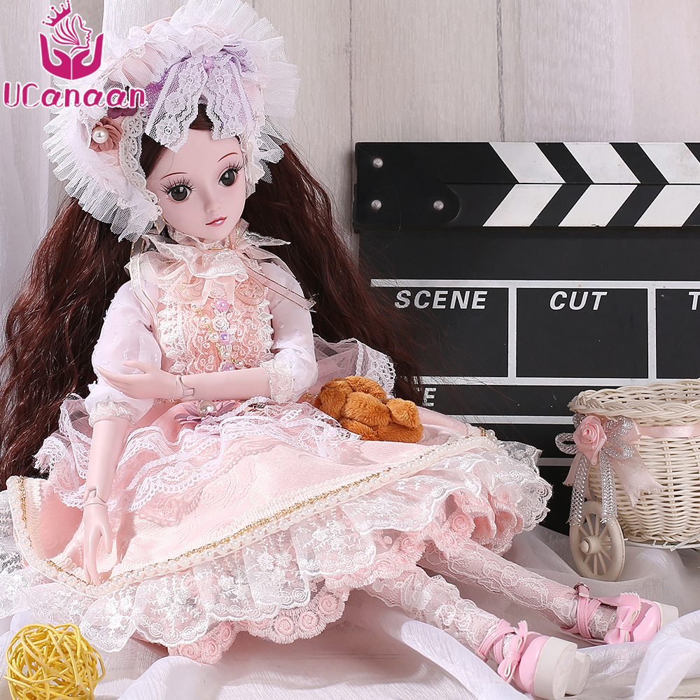 UCanaan 1/3 Girls BJD SD Doll Beauty Princess Toys For Children DIY 19 Ball Joints Dolls With All Outfit Dress Shoes Wigs Makeup кепка тракер с сеткой printio питтсбург пингвинз