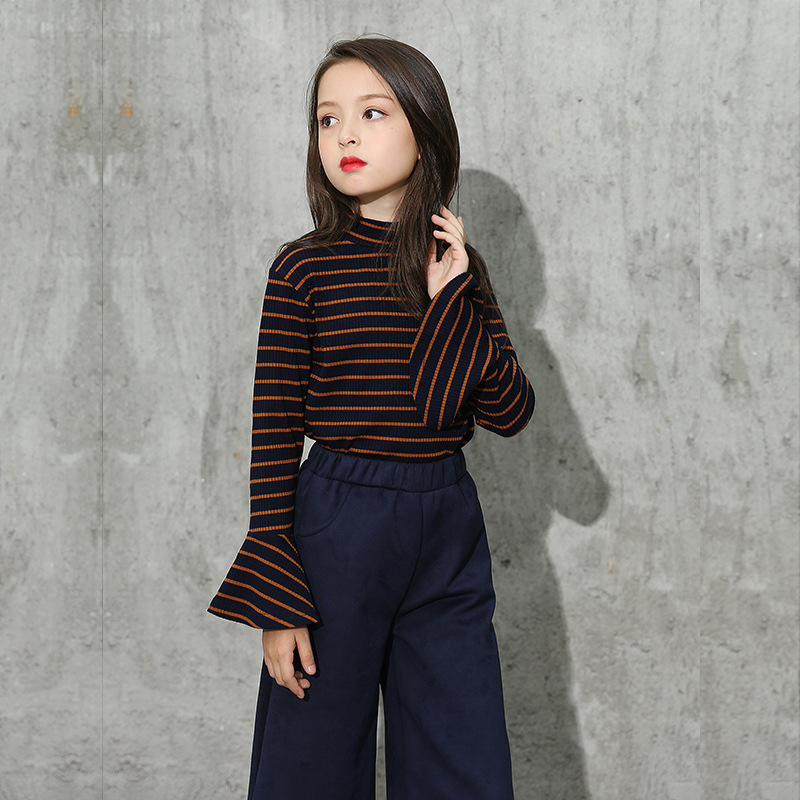 school boutique kids clothing sets little teenage clothes set girl spring autumn 2018 flare sleeves t shirts  + pants 2pc set big teenage boys clothes set summer 2017 kids colorful striped t shirts