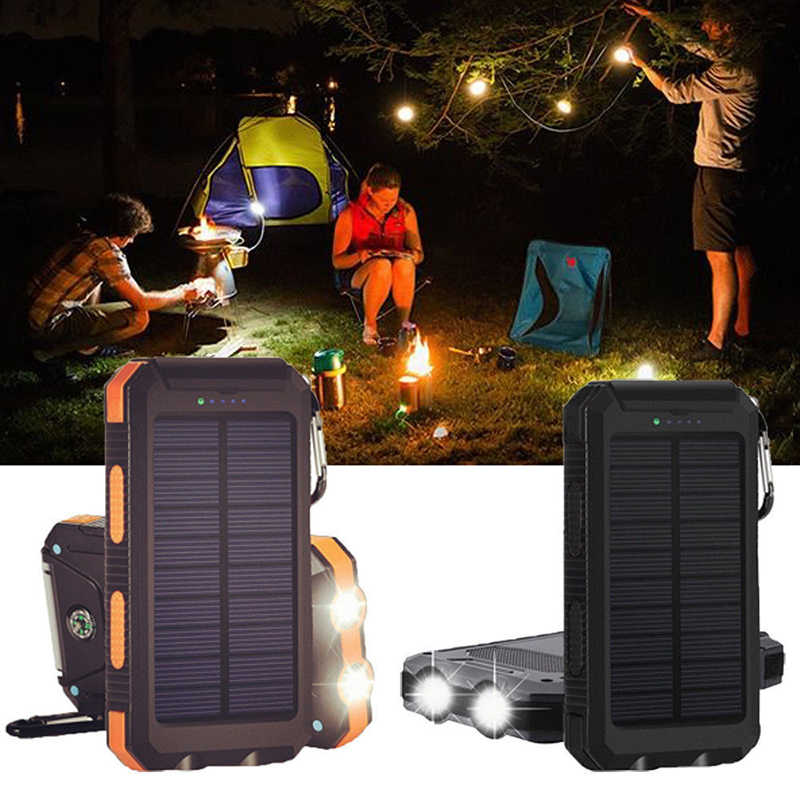 New Waterproof 50000mAh Solar Panel LED Dual USB Ports + No Battery DIY Power Bank Case Battery Charger Kits Box