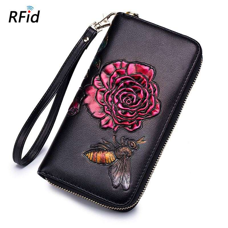 2018 New Lady Long Purse Leather RFID Zipper Women Wallet Fashion Manual Drawing Solid Flower Clutch High-capacity Handbag 50