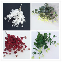 10pcs Artificial Eucalyptus Plant Fake Greenery white/green/red for Wedding Centerpieces Home Party Decoration
