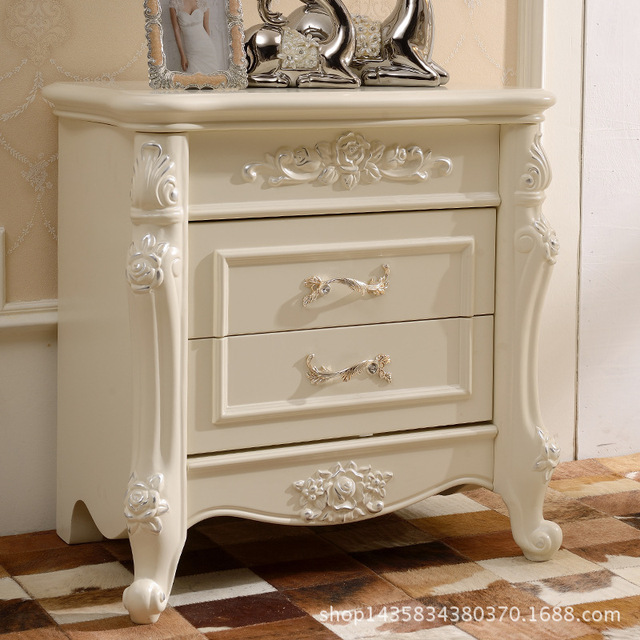 European wood nightstand simple French bedroom mini storage small