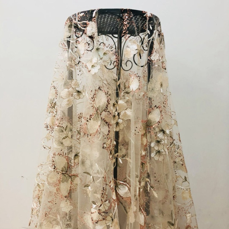 Sequins Embroidered Fabrics Fashion Women's Embroidered Fabric Sequins Embroidery Fabric DIY Fashion Lace Fabric