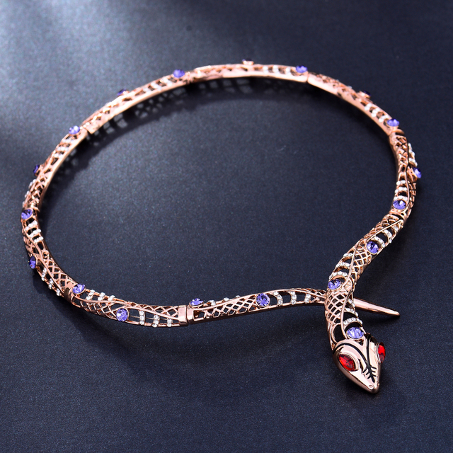 Rose Gold Snake Choker Necklace with Rhinestones