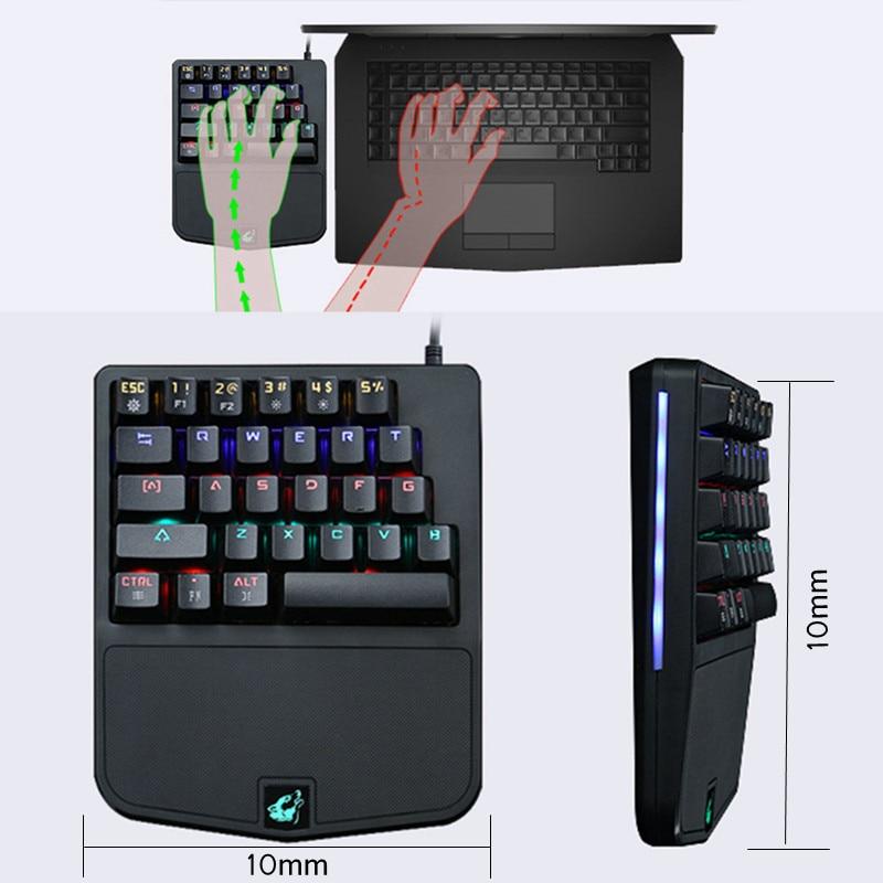 28 keys k9 wired rgb led backlit usb ergonomic illuminated single hand mechanical gaming. Black Bedroom Furniture Sets. Home Design Ideas