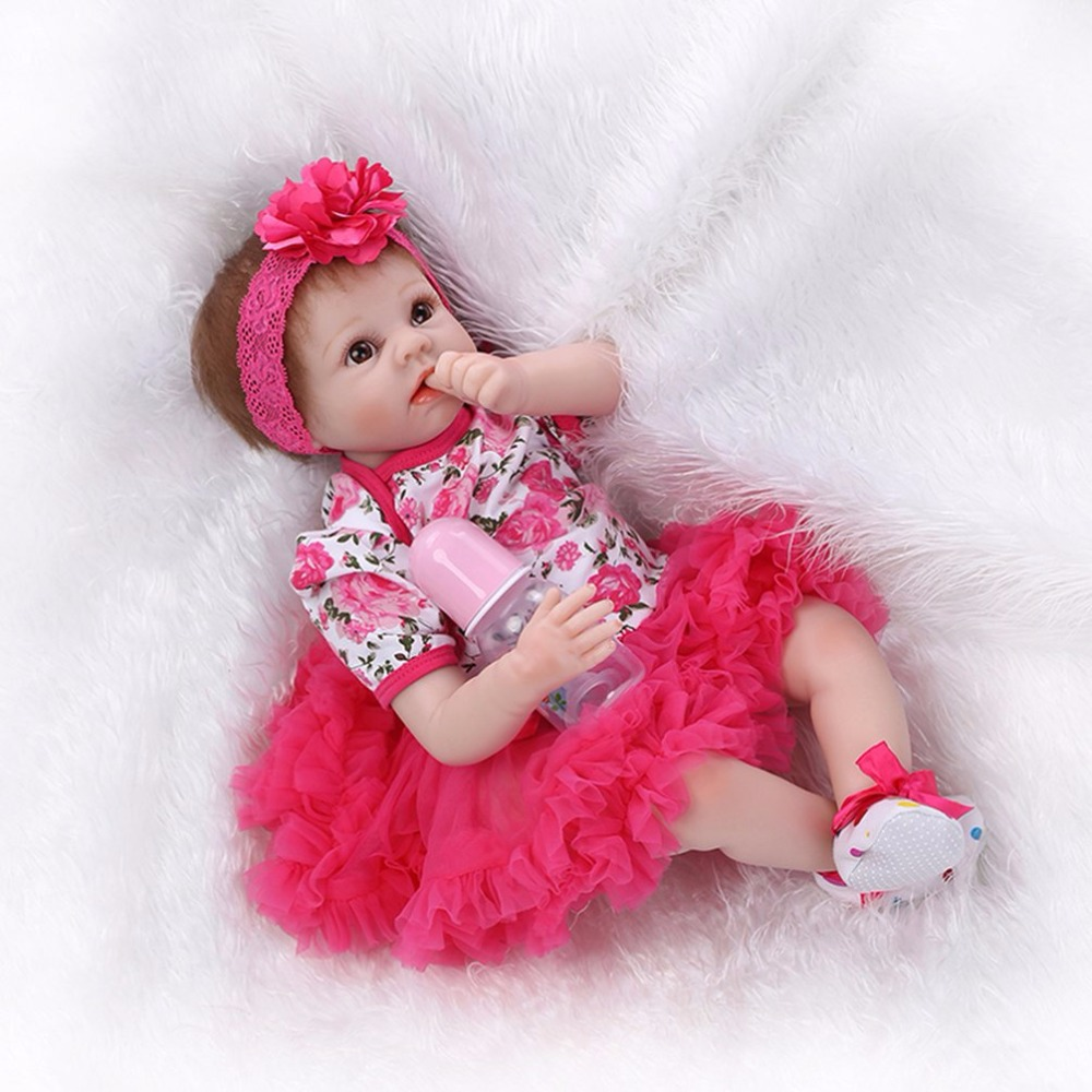 Beautiful 55cm Soft Silicone Body Lifelike Reborn Baby Doll Toy Newborn Princess Girl Pink Dress Bebe-reborn Doll Toys For Girls lifelike american 18 inches girl doll prices toy for children vinyl princess doll toys girl newest design