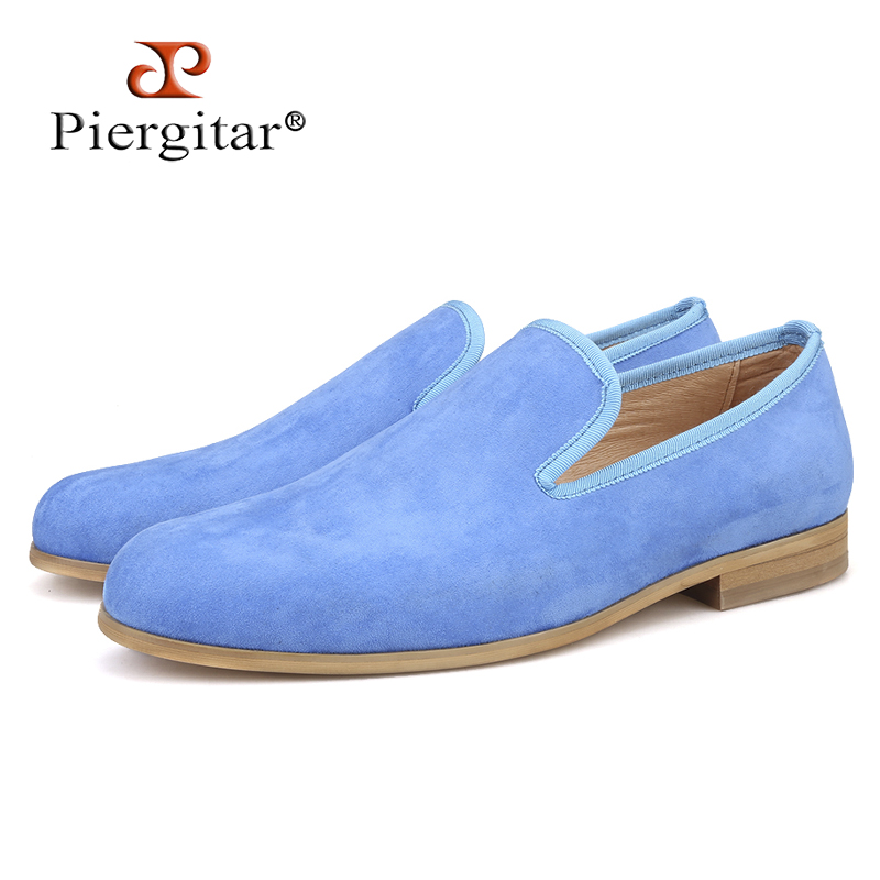Piergitar 2019 New Summer Blue colors men suede shoes Handmade British style men smoking slippers leather