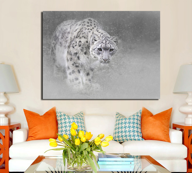 Snow Leopard Print Oil Painting Animal Canvas Art Pictures For