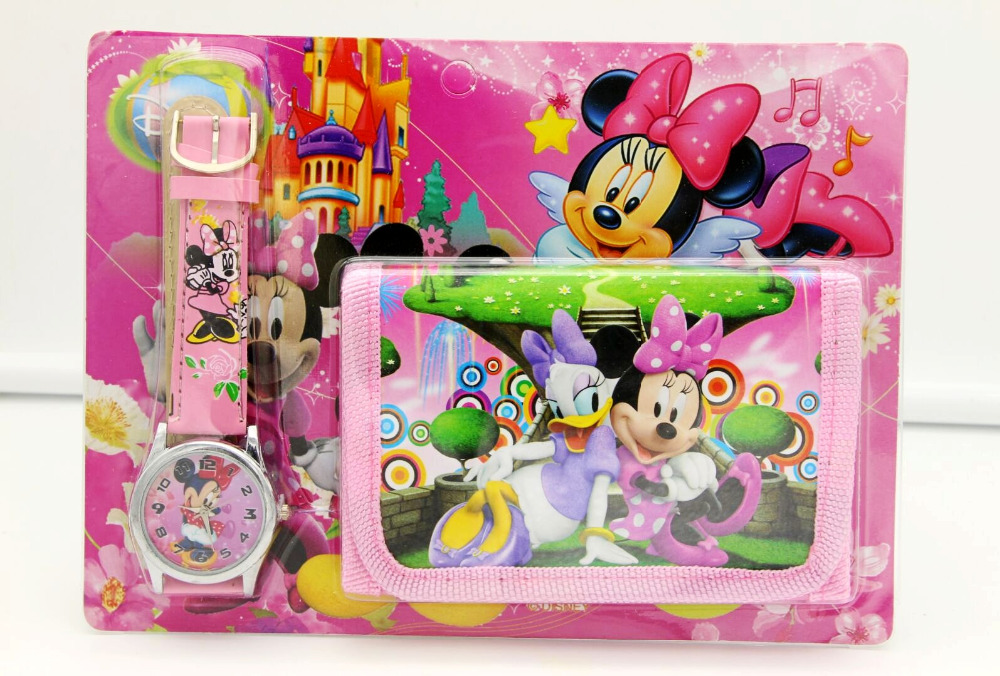 Hot Sale! Wholesale New Lot Minnie Mickey Sets Cartoon Kids Part Set Watch Kids Wristwatch And Wallet Purse Student Gift Watch