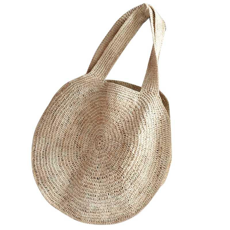 Saco de praia de palha redonda saco de ombro tecido artesanal do vintage ráfia círculo rattan sacos boêmio verão férias sacos casuais