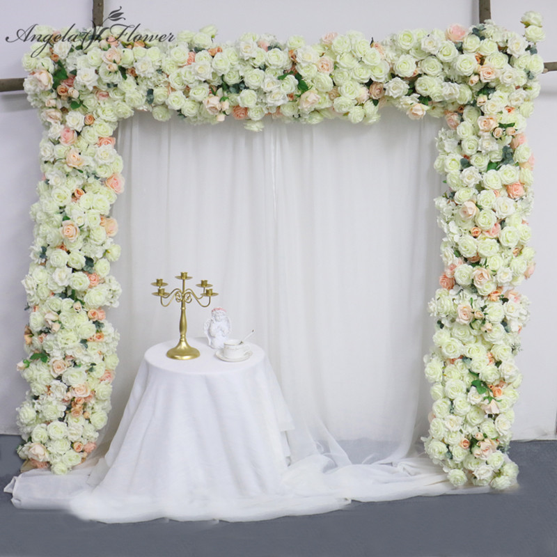 Artificial flower row runner table centerpieces rose peonies DIY wedding bouquet decor arch green leaves flower