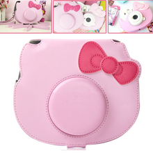 For Fujifilm Instax Mini  HELLO KITTY Instant Film Photo Camera Pink Carrying PU Leather Bag Case Cover with Shoulder Strap