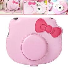 Voor Fujifilm Instax Mini Hello Kitty Instant Film Foto Camera Roze Draagtas Pu Leather Bag Case Cover Met Schouderband