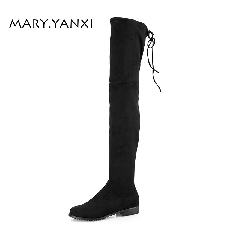 где купить Spring/Autumn Women Shoes Over-the-Knee Boots Flock Nubuck Round Toe Big Size Low Heel Cross-tied Lace-Up Lazy Long Boots дешево