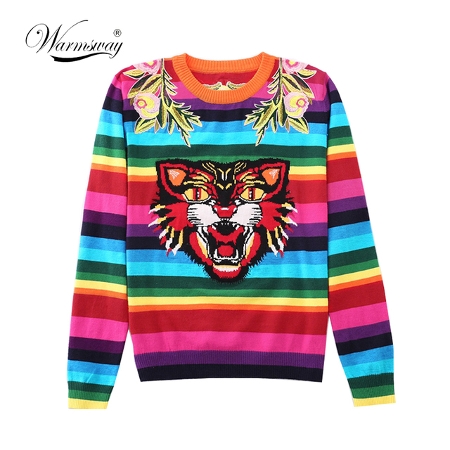 Brand Design Tiger Jacquard Rainbow color Striped Jumper Winter Spring Letter Embroidery Women Sweater Pullover Knit Top  C 349