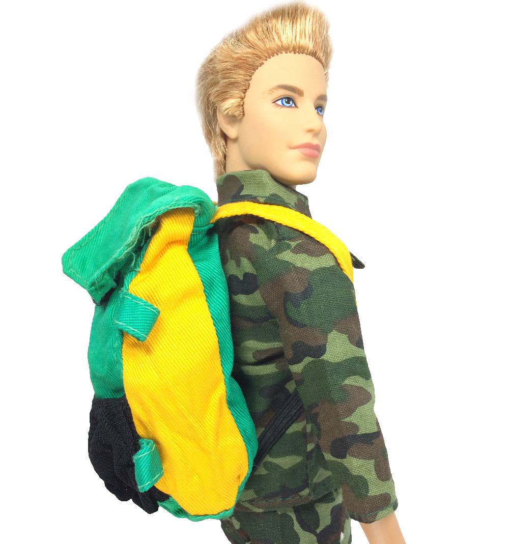 NK One Pcs Doll Bag Prince Doll Knapsack Marines Combat Accessories Bag For Barbie Boy Male Ken Doll Best Gift 011E(China)