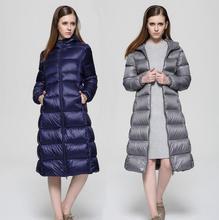 Черный серый синий теплое зимнее пальто утка вниз женщины куртка женская зимние куртки и пальто сгущает капюшоном британский стиль XL