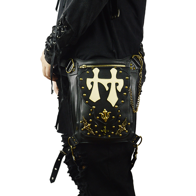 Gothic Rivets Leather Waist Bags Rock Motorcycle Leg Bag Men Women Vintage Cross Body Messenger Bag Retro Punk Leather Bags yulyye new punk bags locomotive bag drop leg bag multifunction fashion rock studded vintage messenger shoulder cross body bag