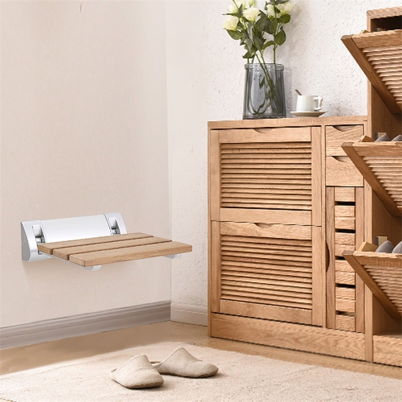 Siège de bain de douche pliant en bois de teck fixé au mur sièges de salle de bains BA7414