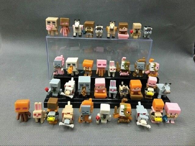 Nova 10/36 pçs/lote Primeira Geração 3D Anime Minecraft Brinquedos Mundo Micro Jogo Toy Action Figure Keychain Minecraft Meninos brinquedos dos miúdos