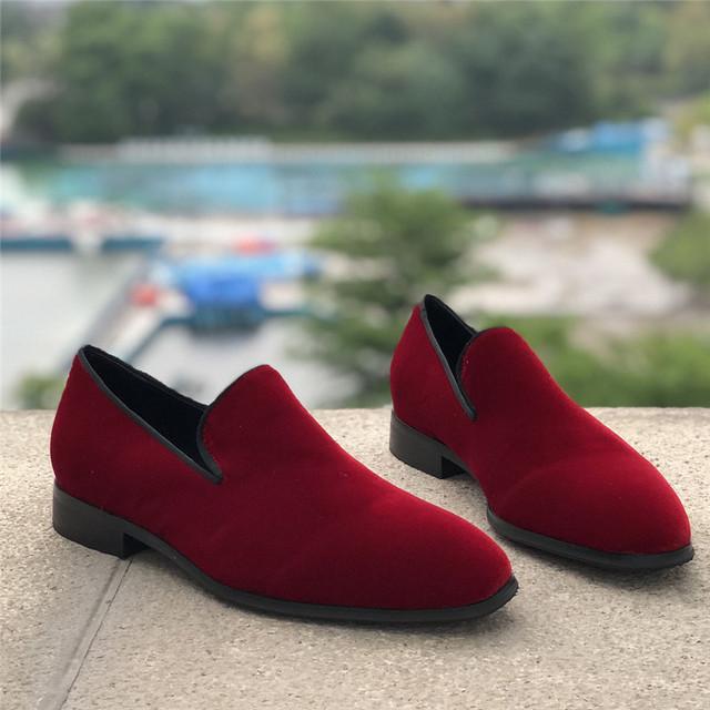 Concise Velvet Men Loafers Black Claret Casual Shoes Men 2019 New Autumn Round Toe Slip On Flats British Style Men Shoes