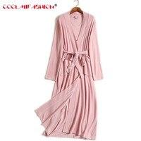 Women Robe Long Sleeve Solid Loose V Neck Self Belt Bathrobe Night Sexy Robes Night Grow Kimono Robe femme Women's Sleep & Loung