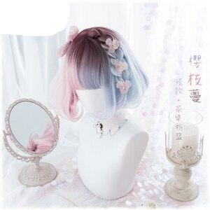 Image 2 - 夏かわいいブルーピンクオンブルカーリー Bobo ロリータかわいい原宿甘い人工毛コスプレ衣装ウィッグ + キャップ