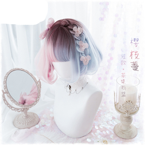 Image 2 - Summer Kawaii Blue Pink Ombre Short Curly BOBO Lolita Cute Harajuku Sweet Synthetic Hair Cosplay Costume Wigs + Wig Cap
