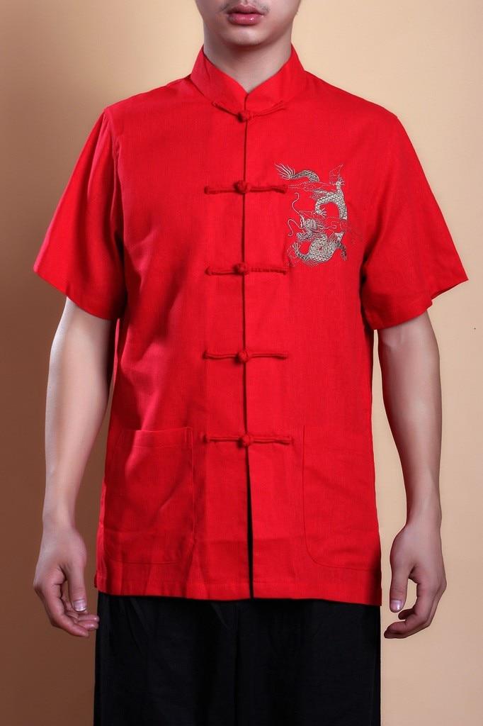 Летняя рубашка с короткими рукавами черная китайская мужская рубашка для кунг-фу топ с драконом YF1210 - Цвет: Red