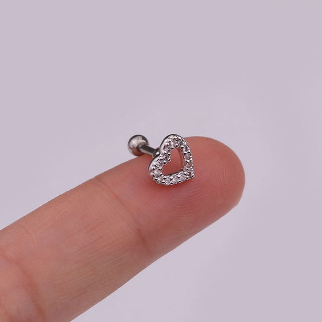 1Pc Stainless Steel Cross Heart Flower Crown Piercing Cz Ear Studs Helix Piercing Cartilage Earring Rook.jpg 640x640 - 1Pc Stainless Steel Cross Heart Flower Crown Piercing Cz Ear Studs Helix Piercing Cartilage Earring Rook Tragus Conch Stud