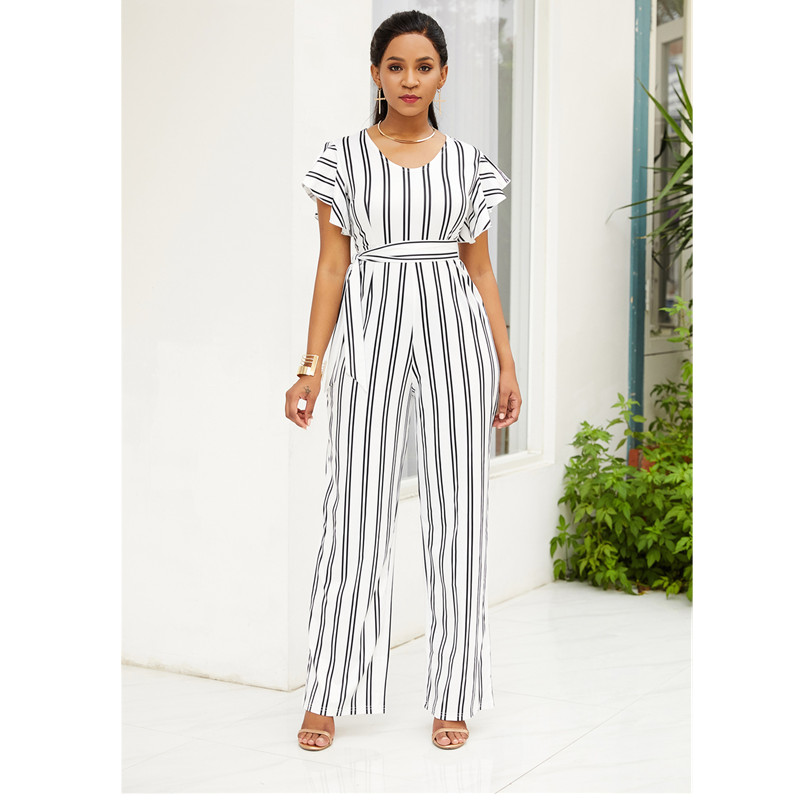 New summer fashion ruffled ladies jumpsuit black and white striped loose pants shorts sexy wide leg casual high waist jumpsuit in Jumpsuits from Women 39 s Clothing