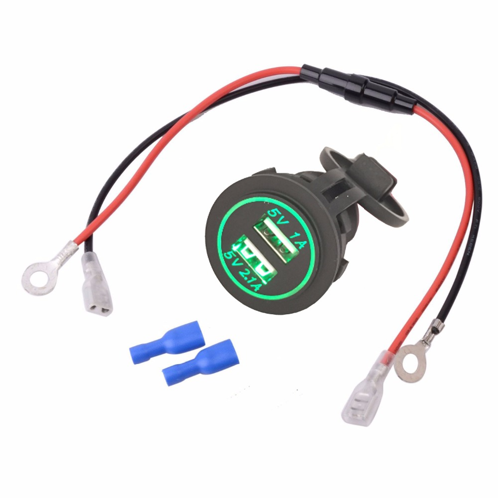 diy waterproof dual usb car usb charger adapter 2 1a 1a motorcycle charger blue green red orange. Black Bedroom Furniture Sets. Home Design Ideas