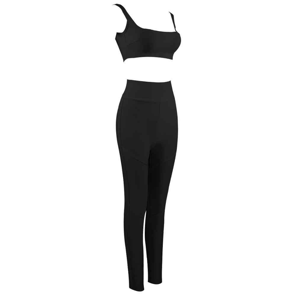 Kostenloser Versand Solide Nude Sexy O Neck Schwarz 2 Stück Bandage Set 2019 Promi Designer Mode frauen Set