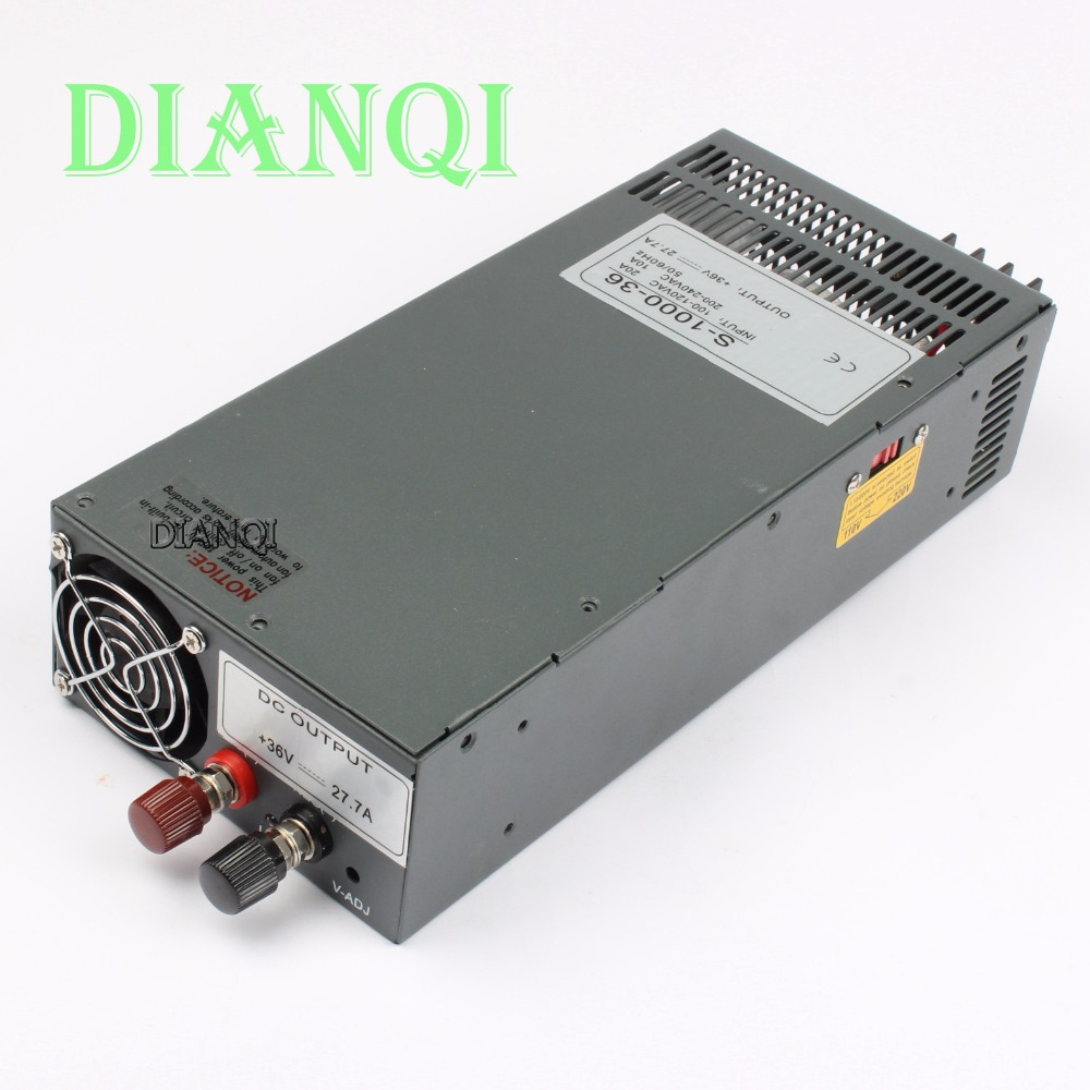 power suply output 36v 28a 1000w ac to dc power supply 1000w 36v 28a input 110v or 220v select by switch high quality s-1000-36 free shipping 1000w 36v dc brushless