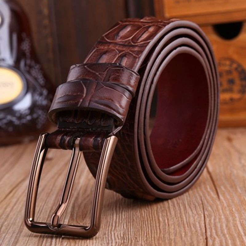 2018 brand new fashion belts for men alligator style pin buckle belt brown 120 cm casual male genuine leather girdle jeans