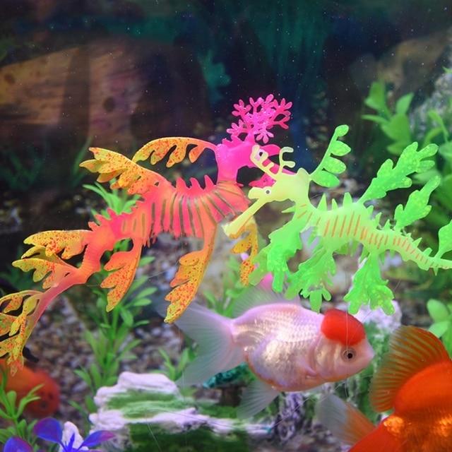 Aquarium Artificial Sea Dragon Fish Tank Ornaments Luminous Glow Silicone Decoration Aquario Stone Is Land