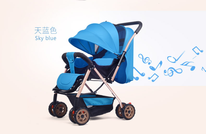 купить Fashion Baby Stroller Can Sit Can Lie Down High Landscape Stroller Folding Baby Carriage Travel Stroller по цене 13598.82 рублей
