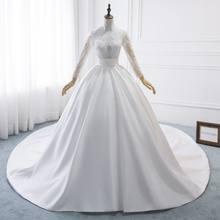 Женское свадебное платье трапеция со шлейфом белое элегантное