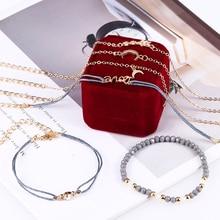 Bohopan 6PCS/Set Bohemia Gold Color Chain Bracelets Delicate Star With Rhinestone Bangles Gray Beads Jewelry