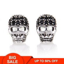 Thomas Black Skull Ear Stud in 925 Sterling Silver, 2015 TS Glam & Soul Collection, Fashion Jewelry Gift for Men and Women цена