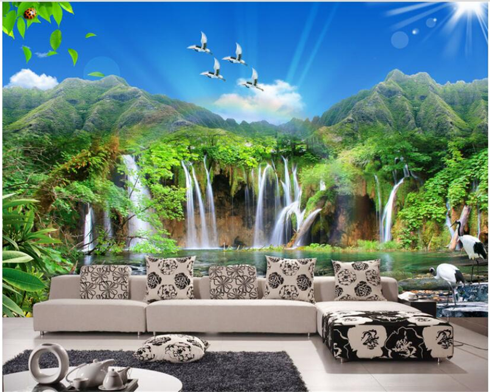 Beibehang Canggih Interior Lukisan Yang Indah Wallpaper Pemandangan Pemandangan Indah Sofa Latar Belakang Wallpaper untuk Dinding