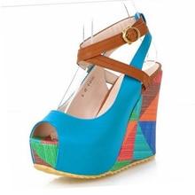 Hot Sale Women Sandals Fashion Bohemia Colorful Wedges Summer Wedding Shoes High Heels Peep toe Ladies Women's Platform Sandals