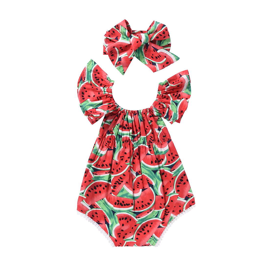 2pcs!!Newborn Baby Girls Clothing Watermelon Clothes Romper Jumpsuit+Headband Outfits Playsuit 2017 floral newborn baby girl clothes ruffles romper baby bodysuit headband 2pcs outfits sunsuit children set