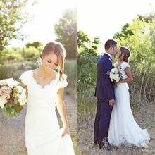 Western Country Style Elegant Lace V Neck Cap Sleeves White Mermaid Wedding Dress 2015 New Robe De Mariage