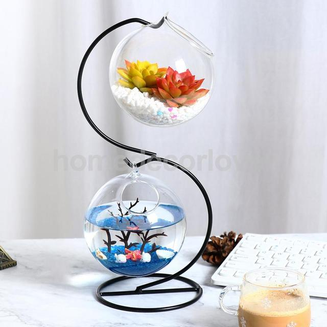 S Shaped Iron Stand Hanging Hydroponic Flower Vase Diy Terrarium
