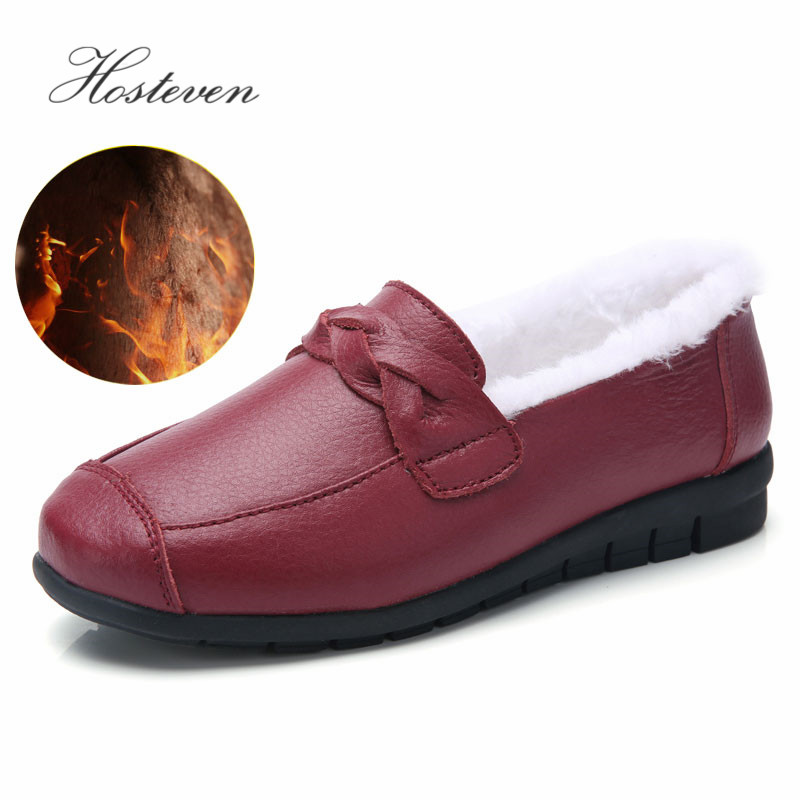 Hosteven Women Shoes Sneaker Loafers Flat Moccasins Oxfords Boat Cow Suede Leather Plush Fur Spring Autumn Female Ladies Shoe