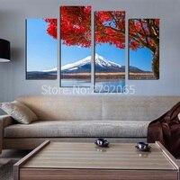 4 parça altında çerçevesiz kar dağ kırmızı ağaç güzel sahne oturma odası ev dekorasyonu için tuval boyama baskılı resim