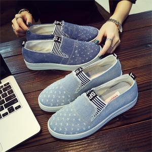 Image 5 - New Flat Shoes Ladies School Canvas Casual Flat Soft And Comfortable Shoes Work Driving Shoes Classical Denim Fabric Lightweight